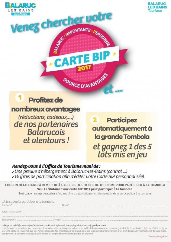 Jeu concours Carte BIP 2017 - Balaruc les Bains
