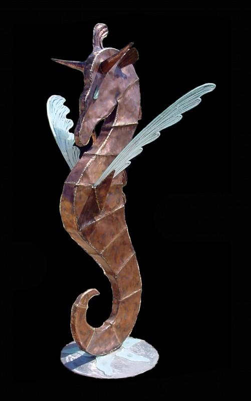 CH COURONNE Pégase de mer 2,14 m cuivre bronze verre
